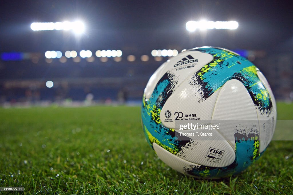 A view of the adidas Bundesliga ball 'torfabrik' with the logo of '20 Jahre Ehrenamt' on it prior to the Second Bundesliga match between DSC Arminia Bielefeld and FC St. Pauli at Schueco Arena on December 1, 2017 in Bielefeld, Germany.