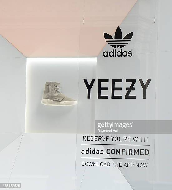 View of the Adidas Store in Soho where the new Kanye West Adidas Originals 'Yeezy Boost' sneakers are on display in the window on February 10 2015 in...