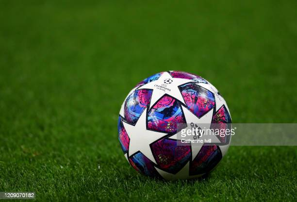 View of the Adidas UCL Finale match ball during the UEFA Champions League round of 16 first leg match between Olympique Lyon and Juventus at Parc...