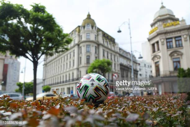 View of the Adidas Uniforia official match ball prior to the UEFA Euro 2020 Championship at the Calea Victoriei on June 9, 2021 in Bucharest, Romania.
