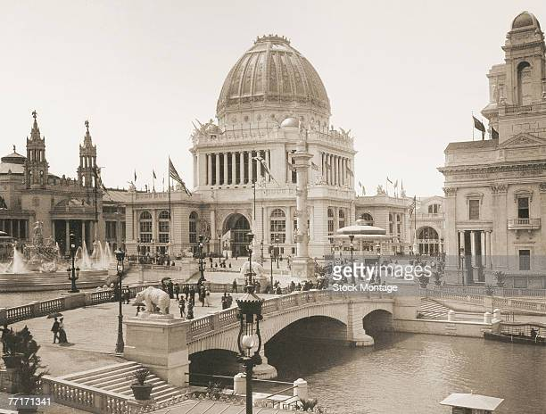View of the Administration Building as seen beyond a bridge over the Basin in the White City section of World's Columbian Exposition Chicago Illinois...