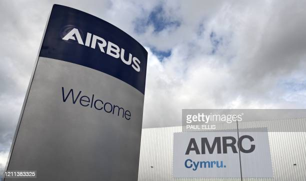 View of the Advanced Manufacturing Research Centre at the Airbus plant in Broughton, north Wales on April 30, 2020. - Airbus have joined forces with...