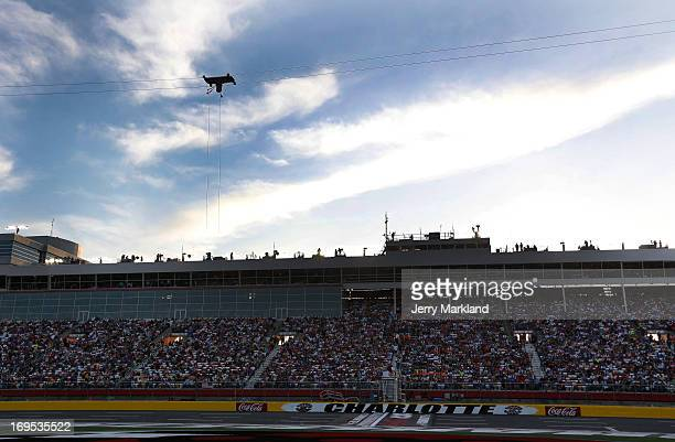 A view of the aerial Fox Sports camera on the front stretch during a red flag in the NASCAR Sprint Cup Series CocaCola 600 at Charlotte Motor...