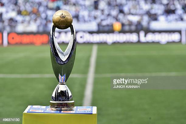A view of the African Champions League trophy is pictured at TP Mazembe stadium in Lubumbashi ahead of the champions league second leg final match...