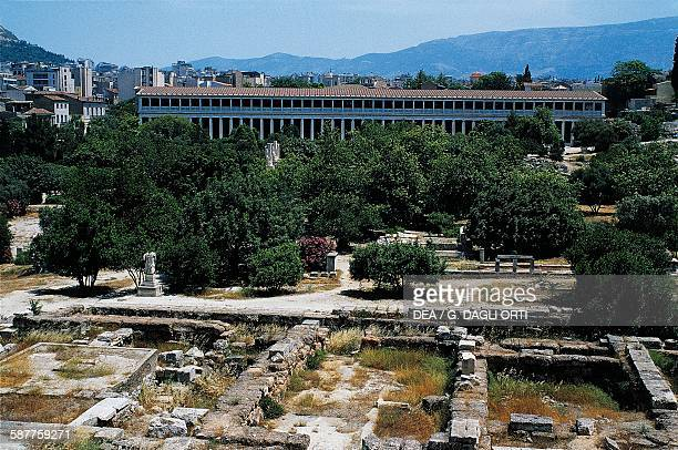 View of the Agora and the Stoa of Attalos Athens Greece Greek civilisation 2nd century BC