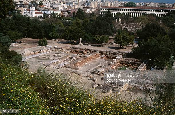View of the Agora with the Stoa of Attalos Athens Greece Greek civilisation 2nd century BC
