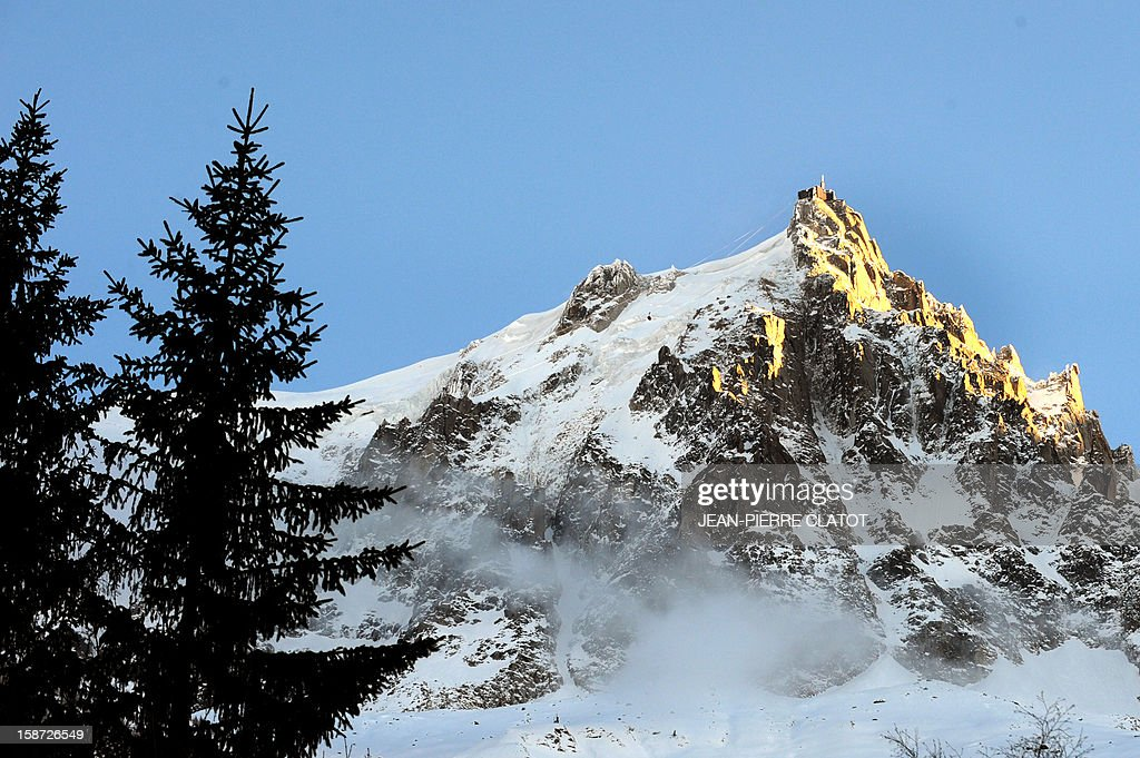 View of the Aiguille du Midi (3,842 m), a mountain in the Mont Blanc massif, French Alps, taken on December 26, 2012 in Chamonix.