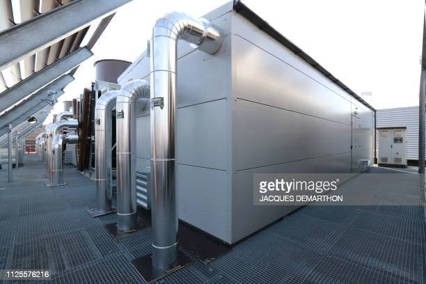 A view of the air conditioning and cooling systems on the roof of the Equinix Paris data centre called PA8 Equinix's first International Business...