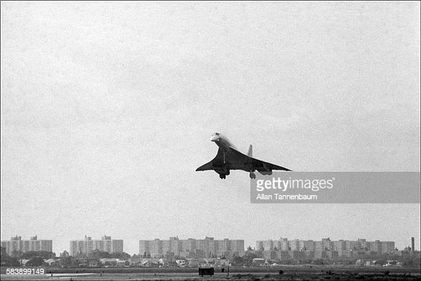 View of the Air France / British Airways Concorde as it lands at JFK Airport to complete its first supersonic transatlantic flight New York New York...