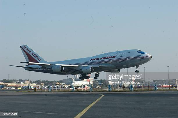 View of the Air India Aeroplane at IGI International Airport in New Delhi India