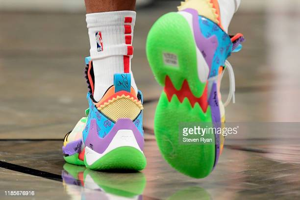 A view of the Air Jordan Basketball shoes worn by Russell Westbrook of the Houston Rockets against the Brooklyn Nets at Barclays Center on November...