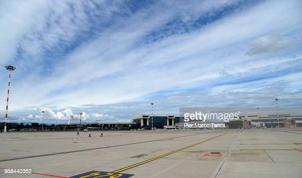 A view of the airport during the unveiling of Air Italy's Boeing 737 Max at Malpensa airport on May 14 2018 in Varese Italy