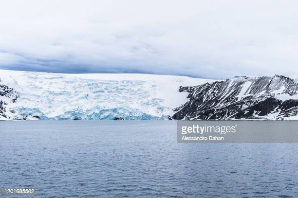 View of the Ajax Glacier on the Keller Peninsula next to The Brazilian Antarctic Station Commander Ferraz on November 04 2019 in King George Island...