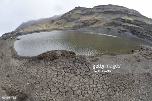 View of the Ajuankota water reservoir that supplies La Paz at 1% of its capacity in La Paz on November 21 2016 Bolivia's government declared an...