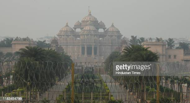 A view of the Akshardham Temple on November 19 2019 in New Delhi India The air quality in Delhi stood in poor category on Tuesday with agencies...