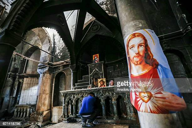 View of the Al - Tahira Al-Kubra church which was damaged by Daesh terrorists after the Al- Hamdaniya District was rescued during the operation to...