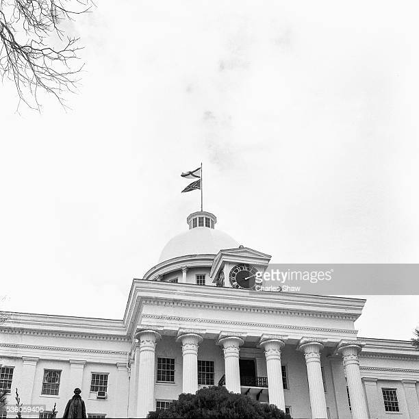 View of the Alabama State Capitol which flies Confederate and Alabama flags on the day before the Selma to Montgomery March arrived Montgomery...