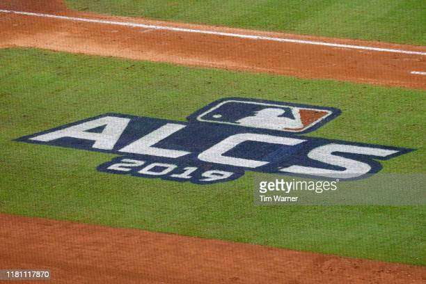 A view of the ALCS logo during game two of the American League Championship Series between the Houston Astros and the New York Yankees at Minute Maid...