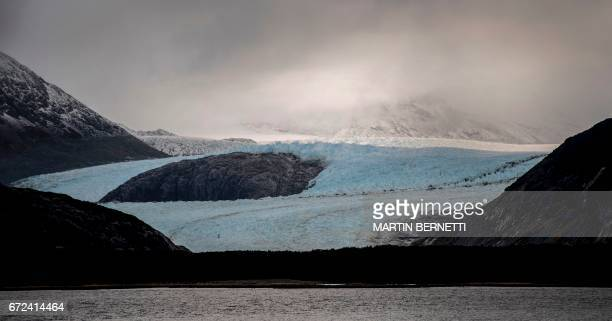View of the Alemania glacier to the northeast of the Beagle Channel along the 230km 'glaciers route' in the Magallanes y Antartica Chilena region in...