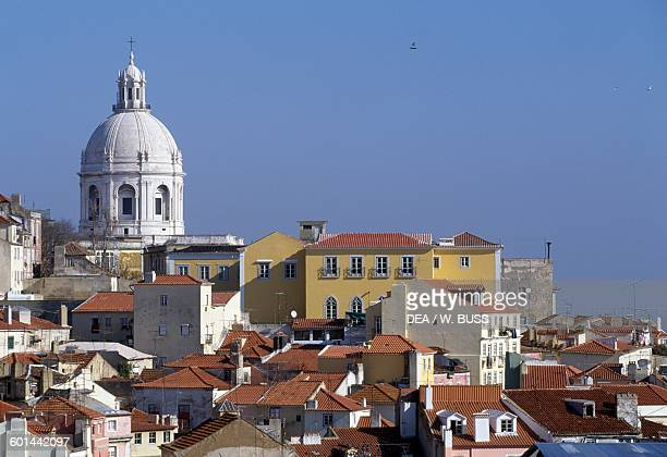 A view of the Alfama neighbourhood with the dome of the Church of St Engracia in the background Lisbon Portugal