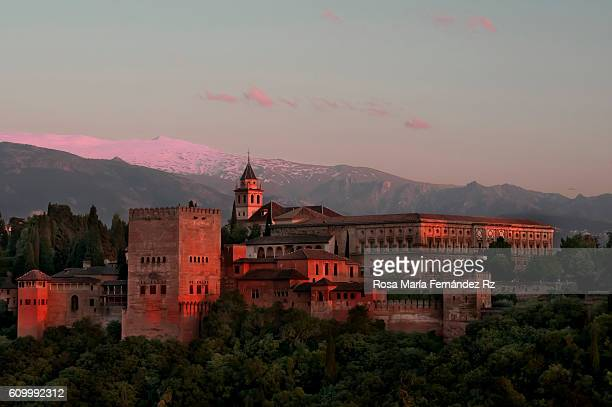View of the alhambra from the Albayzin at sunset Alhambra