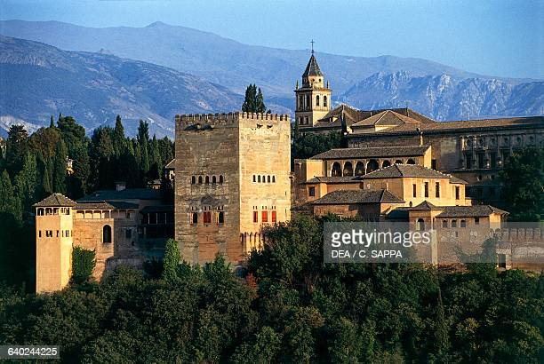 View of the Alhambra with the Comares Tower Granada Andalucia Spain 13th15th century
