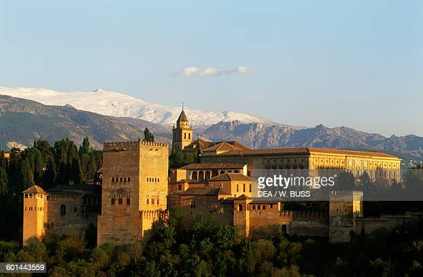 View of the Alhambra with the Sierra Nevada in the background Granada Andalusia Spain