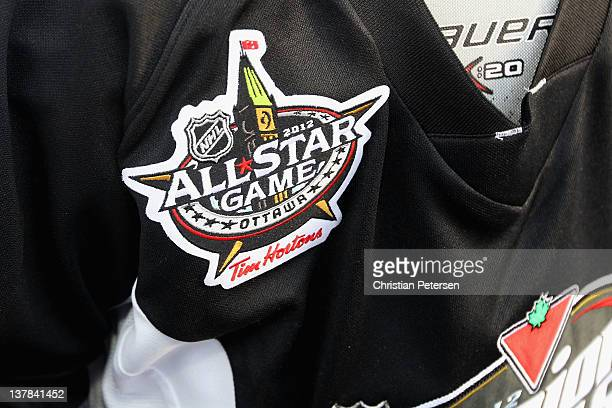 A view of The AllStar Games logo on a hockey jersey during the Canadian Tire NHL Junior Skills Competition at Rideau Canal Skateway on January 28...