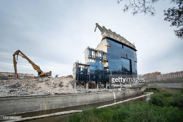 View of The almost demolished Vicente Calderon historic stadium, Atletico Madrid's former home on June 02, 2020 in Madrid, Spain. Spain has largely...