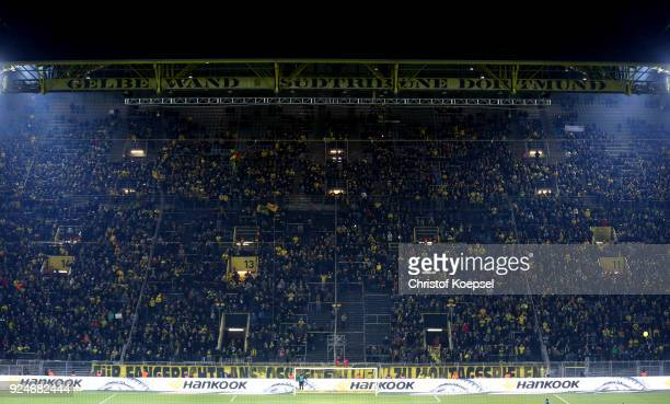A view of the almost empty south stand that normally holds 26000 fans as the fans make their protest against monday evening matches during the...