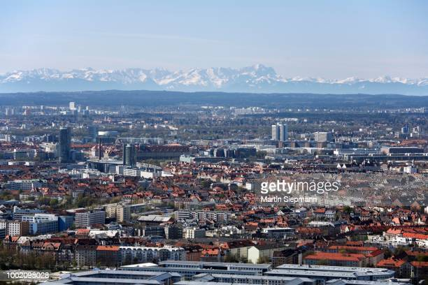 View of the Alps, Zugspitze, and Neuhausen from Olympia Park TV tower, Munich, Bavaria, Germany