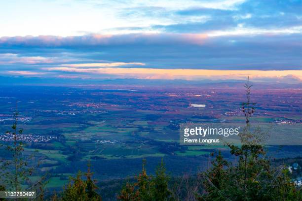 view of the alsace valley or plain from high up in the vosges mountains. germany visible in the sunset light - baden wurttemberg - fotografias e filmes do acervo