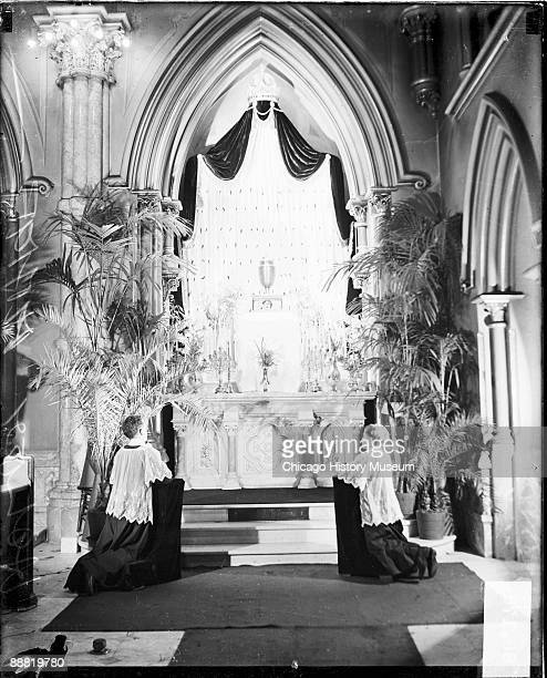 View of the altar inside the Holy Name Cathedral located at 735 North State Street in the Near North Side community area of Chicago Illinois 1929 Two...