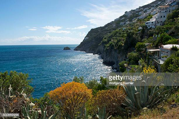 View of the Amalfi coastline with houses at Praiano in Italy