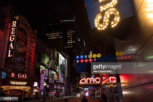 View of the AMC Empire 25 and Regal Cinemas on 42nd Street in Times Square on October 13, 2020 in New York City. The pandemic has caused long-term...