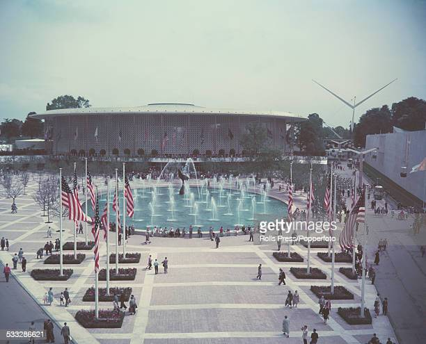 View of the American Pavilion with terrace and fountains in the foreground at the Brussels World Fair Expo 58 on 18th April 1958