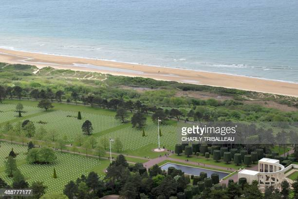 A view of the American war Cemetery and Omaha Beach which overlooks the sand dunes where Allied troops turned the tide of the World War II to...