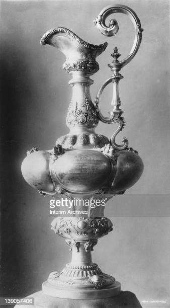 View of the America's Cup sailing trophy, early twentieth century.