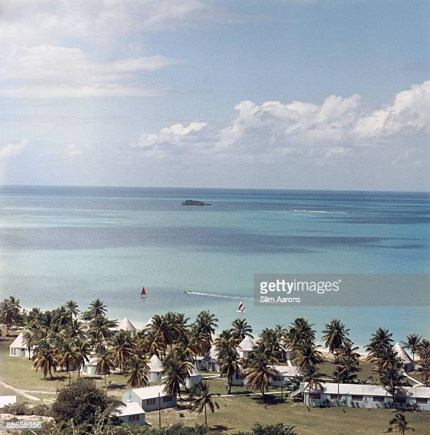 A view of the Anchorage Hotel on Dickenson Bay Antigua in the West Indies 1960 Built by a Scottish couple formerly resident in Africa the hotel...