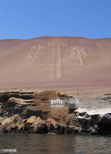 A view of the anciant Paracas Candelabra Ballestas islands on March 8 2005 near Pisco Peru The mysterious geoglyph in the Paracas National park is...