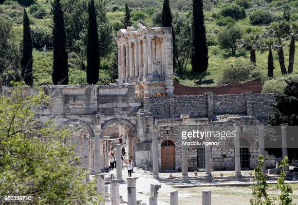 A view of the Ancient Ephesus City Ruins which was used as a settlement for 9000 years and take place in World Heritage List of UNESCO World Heritage...