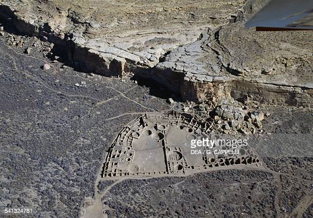 View of the ancient settlement of Anasazi of Pueblo Bonito Chaco Ruins Culture National Park Chaco Canyon New Mexico United States of America Anasazi...
