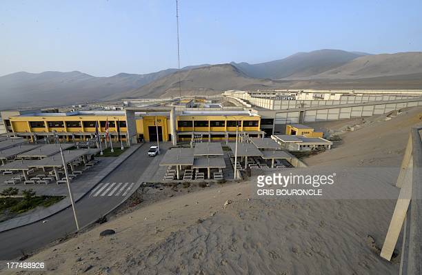 View of the Ancon 2 prison part of the Piedras Gordas Model Penitentiary complex some 12 kilometers north of Lima on August 22 2013 The Peruvian...