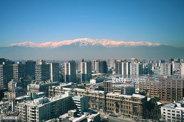 View of the Andes and city skyline from Santa Lucia Hill, Santiago, Chile