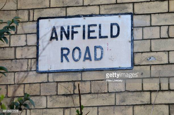 View of the Anfield Road sign prior to the Barclays Premier League match between Liverpool and Tottenham Hotspur at Anfield on March 30 2014 in...