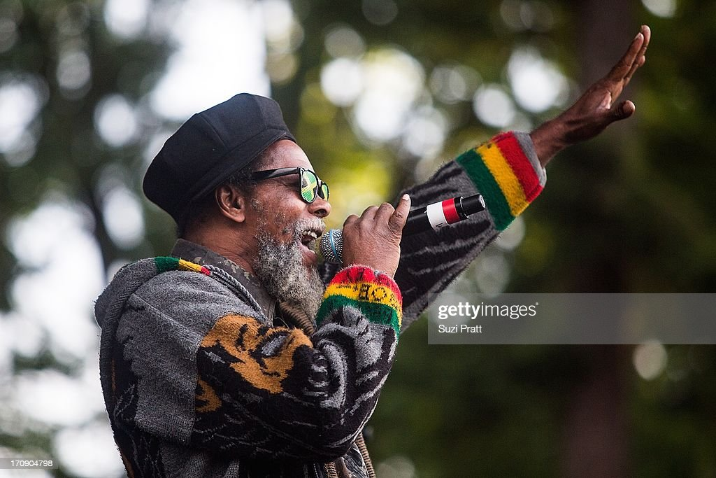 A view of the announcer as the Ghetto Youth Crew performs live at Marymoor Park on June 19, 2013 in Redmond, Washington.
