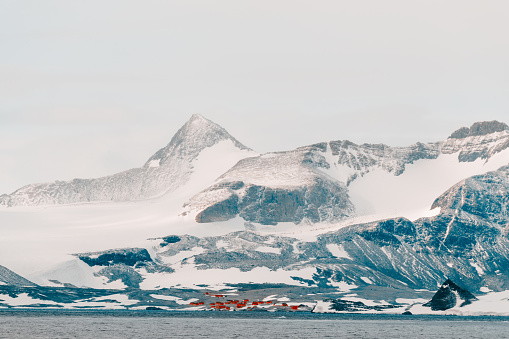 view of the Antarctica with a base camp - gettyimageskorea