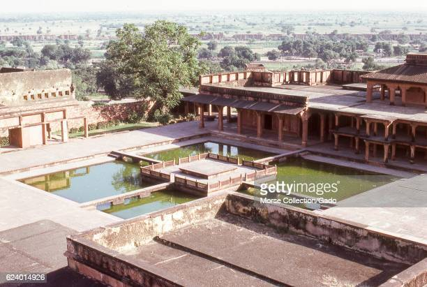 View of the Anup Talao ornamental pools from atop the Panch Mahal palace, inside the royal enclave of Fatehpur Sikri, in the Agra district of Uttar...
