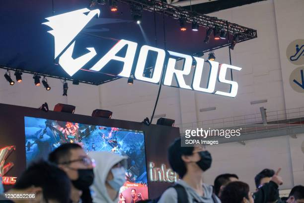 View of the AORUS stand during the Taipei Game Show at Nangang Exhibition Center in Taipei. Taipei Game Show, held by Taipei Computer Association ,...