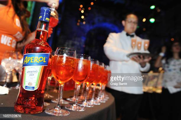 View of the Aperol Spritz booth during the Citi Taste Of Tennis gala on August 23 2018 in New York City
